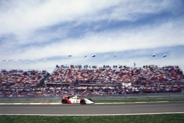 1993 San Marino Grand Prix. Imola, Italy. Ayrton Senna (McLaren MP4/8-Ford), World Copyright: LAT Photographic. Ref: Colour Transparency.