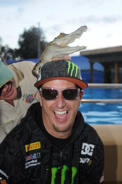 Ken Block (USA), Ford, with a baby crocodile.World Rally Championship, Rd10, Rally of Australia Preparations, Coffs Harbour, New South Wales, Australia, Wednesday 7 September 2011.