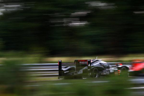 2015 Le Mans 24 Hours. Circuit de la Sarthe, Le Mans, France. Wednesday 10 June 2015. Porsche Team (Porsche 919 Hybrid - LMP1), Romain Dumas, Neel Jani, Marc Lieb.  Photo: Sam Bloxham/LAT Photographic. ref: Digital Image _G7C5220