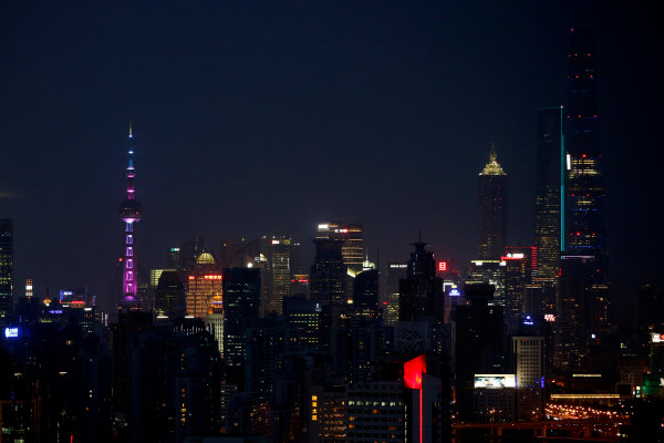 Shanghai International Circuit, Shanghai, China. Wednesday 8 April 2015. View over Shanghai at night. World Copyright: Glenn Dunbar/LAT Photographic. ref: Digital Image _W2Q0335