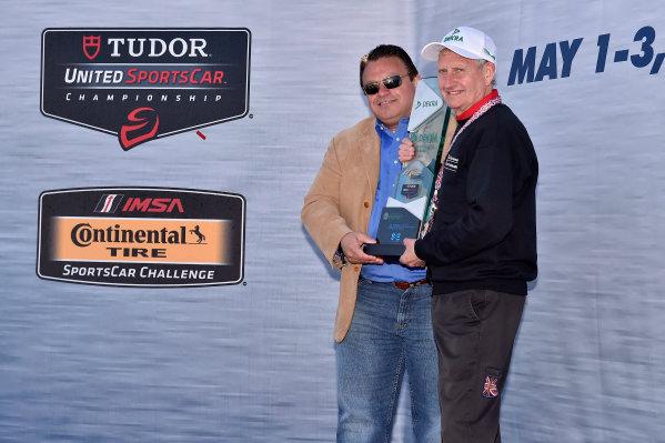 1-3 May, 2015, Monterey, California, USA Don Nicholson, President and regional officer of Dekra, NA presents the Dekra Green Challenge award to David Sims of Risi Competizione ©2015, Michael L. Levitt LAT Photo USA
