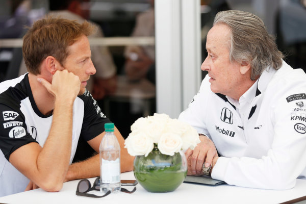 Circuit Gilles Villeneuve, Montreal, Canada. Saturday 6 June 2015. Jenson Button, McLaren, with Mansour Ojjeh, CEO, TAG. World Copyright: Alastair Staley/LAT Photographic. ref: Digital Image _R6T9061