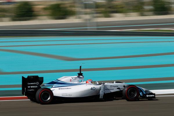 Yas Marina Circuit, Abu Dhabi, United Arab Emirates. Wednesday 26 November 2014. Felipe Nasr, Williams FW36 Mercedes.  World Copyright: Sam Bloxham/LAT Photographic. ref: Digital Image _G7C9314