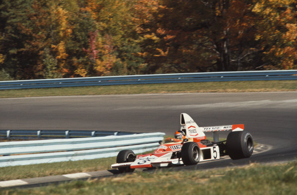 1974 United States Grand Prix East. Watkins Glen, New York, USA. 4th - 6th October 1974. Emerson Fittipaldi (McLaren M23-Ford), 4th position,  action. World Copyright: LAT Photographic.