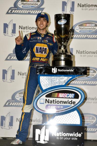 14-15 November, 2014, Homestead, Florida USA Chase Elliott celebrates his Championship ? 2014, Nigel Kinrade LAT Photo USA