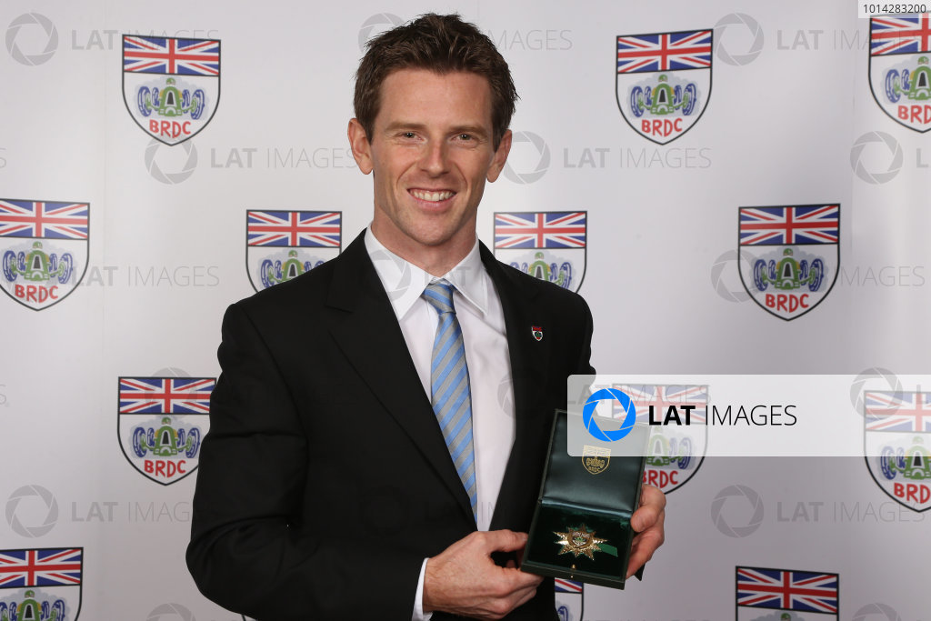 2014 BRDC Annual Awards The Grand Connaught Rooms, London, UK Monday 8 December 2014. World Endurance Champion Anthony Davidson with his Gold Star. World Copyright: Ebrey/LAT Photographic. ref: Digital Image Davidson--01