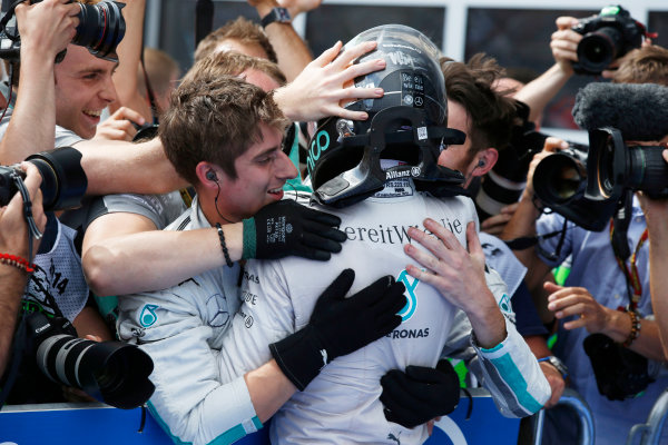 Red Bull Ring, Spielberg, Austria. Sunday 22 June 2014. Nico Rosberg, Mercedes AMG, 1st Position, celebrates in Parc Ferme. World Copyright: Charles Coates/LAT Photographic. ref: Digital Image _N7T4961