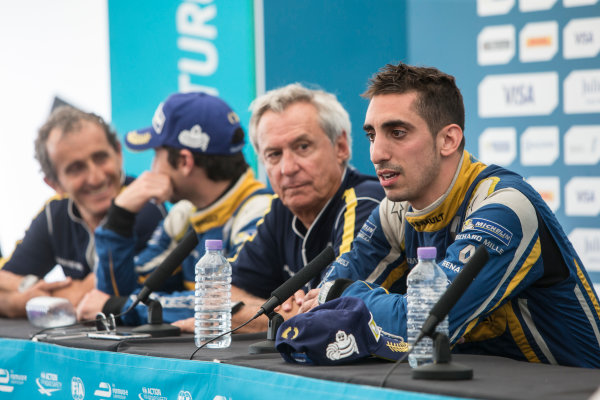 2015/2016 FIA Formula E Championship. London ePrix, Battersea Park, London, United Kingdom. Sunday 3 July 2016. Sebastien Buemi (SUI), Renault e.Dams Z.E.15 and Nicolas Prost (FRA), Renault e.Dams Z.E.15 post race press conference. Photo: Andrew Ferraro/LAT/Formula E ref: Digital Image _FER7671