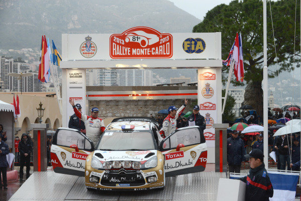 Sebastien Loeb (FRA) and Daniel Elena (MC), Citroen DS3 WRC on the podium. FIA World Rally Championship, Rd1, Rally Monte- Carlo, Day Five, Monte-Carlo, Monaco, 20 January 2013.