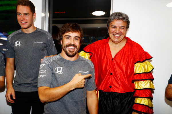 Hungaroring, Budapest, Hungary.  Saturday 29 July 2017. Fernando Alonso, McLaren, celebrates his 36th birthday while his manager wear, Spanish national dress. World Copyright: Steven Tee/LAT Images  ref: Digital Image _R3I3569
