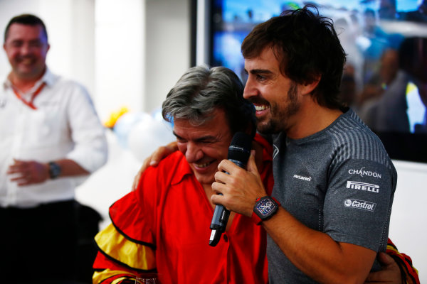Hungaroring, Budapest, Hungary.  Saturday 29 July 2017. Fernando Alonso, McLaren, celebrates his birthday. World Copyright: Andy Hone/LAT Images  ref: Digital Image _ONY2085