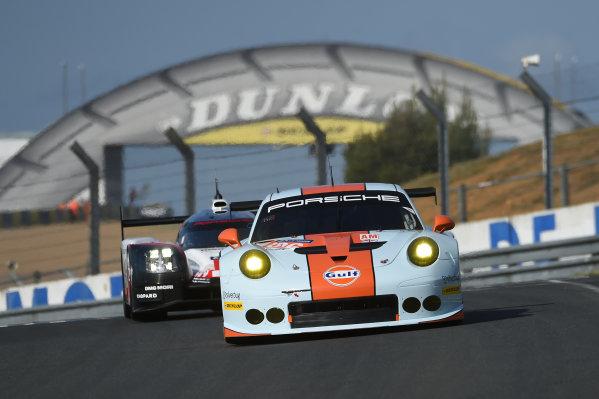 2017 Le Mans 24 Hours test day. Circuit de la Sarthe, Le Mans, France. Sunday 4 June 2017 #86 Gulf Racing Porsche 911 RSR: Michael Wainwright, Ben Barker, Nick Foster World Copyright: Rainier Ehrhardt/LAT Images ref: Digital Image 24LM-testday-re-1529