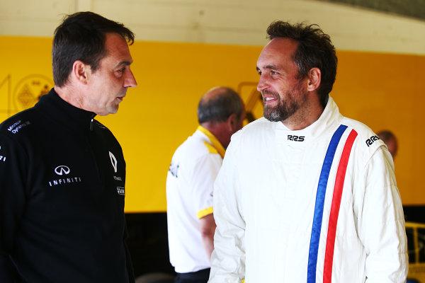 Silverstone, Northamptonshire, UK.  Friday 14th July 2017. Franck Montagny (FRA) Renault F1  World Copyright: JEP/LAT Images