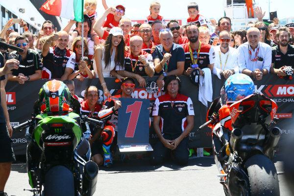 2017 Superbike World Championship - Round 7 Misano, Italy. Sunday 18 June 2017 Race winner Marco Melandri, Ducati Team World Copyright: Gold and Goose Photography/LAT Images ref: Digital Image WSBK-Post-100-9265 1.20.17 AM