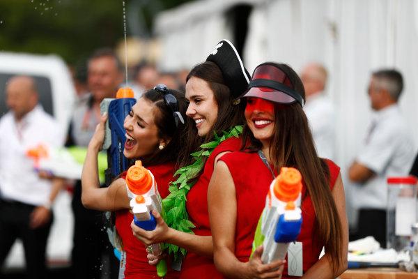Circuit Gilles Villeneuve, Montreal, Canada. Saturday 10 June 2017. Girls with water pistols at the raft race. World Copyright: Glenn Dunbar/LAT Images ref: Digital Image _31I6254
