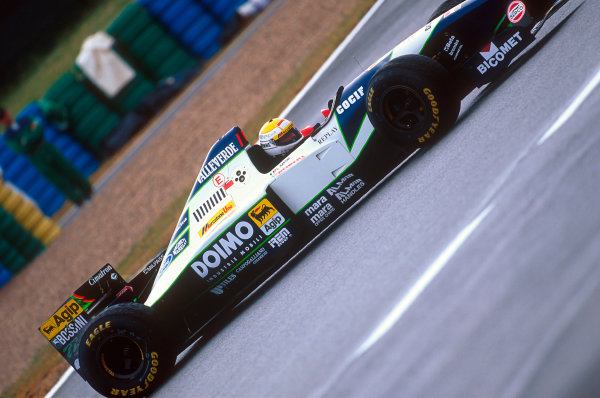 Magny-Cours, France.30/6-2/7 1995.Pierluigi Martini (Minardi M195 Ford). He exited the race after a problem with his gear selection.Ref-95 FRA 10.World Copyright - LAT Photographic