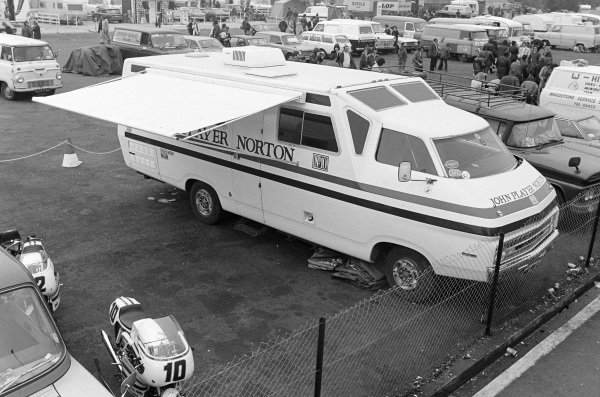 The Nortons of Peter Williams and Dave Croxford sit alongside the John Player Norton team's RecTrans Discoverer campervan.