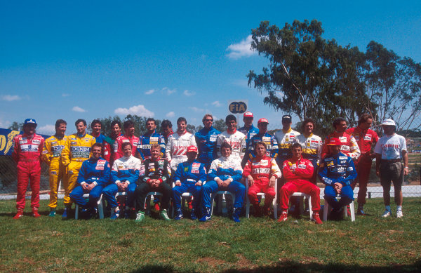 1993 South African Grand Prix.Kyalami, South Africa.12-14 March 1993.The formula one drivers get together for the annual start of year drivers group shot. (back row L-R) Senna, M Schumacher, Patrese, Comas, Alliot, Andretti, Capelli, Zanardi, Warwick, Lehto, Suzuki, Wendlinger, Barrichello, C Fittipaldi, Barbazza, Alboreto, Berger and Prost.(front row L-R) de Cesaris, Brundle, Herbert, Katayama, Blundell, Badoer, Alesi and D Hill.Ref-93 SA 04.World Copyright - LAT Photographic