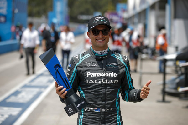 Mitch Evans (NZL), Panasonic Jaguar Racing, with the pole position award
