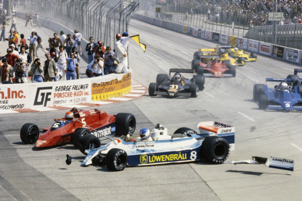 The aftermath of the first corner accident between Niki Lauda, Brabham BT48 Alfa Romeo and Patrick Tambay, McLaren M28 Ford taking both drivers out of the race.