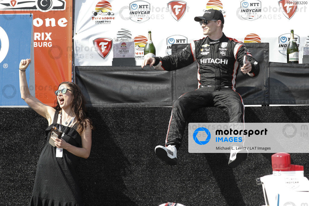 Josef Newgarden, Team Penske Chevrolet with fiancee Ashley Welch