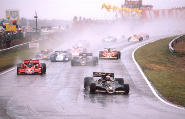 1977 Belgian Grand Prix.Zolder, Belgium.3-5 June 1977.Mario Andretti (Lotus 78 Ford) leads John Watson (Brabham BT45BAlfa Romeo), Gunnar Nilsson (Lotus 78 Ford), Patrick Depailler (Tyrrell P34 Ford), Jody Scheckter (Wolf WR1 Ford) and Carlos Reutemann (Ferrari 312T2) at the start.Ref-77 BEL 04.World Copyright - LAT Photographic