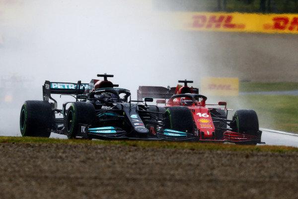 Sir Lewis Hamilton, Mercedes W12, battles with Charles Leclerc, Ferrari SF21