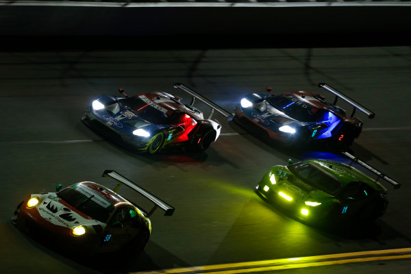 IMSA WeatherTech SportsCar Championship Rolex 24 Hours Daytona Beach, Florida, USA Sunday 28 January 2018 #58 Wright Motorsports Porsche 911 GT3 R, GTD: Patrick Long, Christina Nielsen, Robert Renauer, Mathieu Jaminet #66 Chip Ganassi Racing Ford GT, GTLM: Dirk Müller, Joey Hand, Sébastien Bourdais #67 Chip Ganassi Racing Ford GT, GTLM: Ryan Briscoe, Richard Westbrook, Scott Dixon World Copyright: Jake Galstad LAT Images  ref: Digital Image galstad-DIS-ROLEX-0118-306602