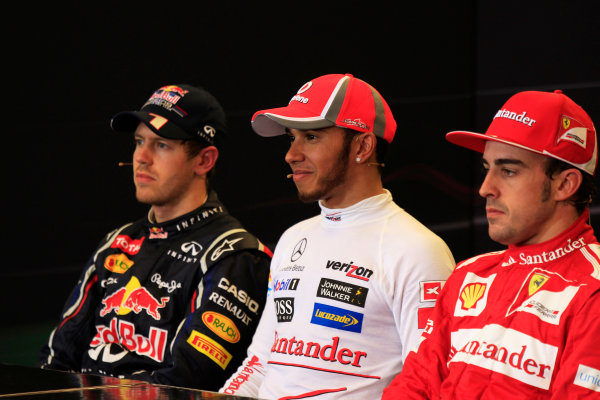 Circuit of the Americas, Austin, Texas, United States of America. Sunday 18th November 2012. Sebastian Vettel, Red Bull Racing, 2nd position, Lewis Hamilton, McLaren, 1st position, and Fernando Alonso, Ferrari, 3rd position, in the Press Conference.  World Copyright:Charles Coates/  ref: Digital Image _X5J4242