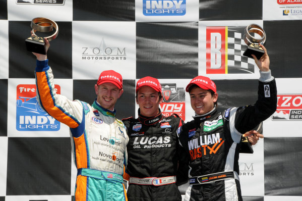 9-11 April, 2010, Birmingham, Alabama, USA Charlie Kimball, J.K. Vernay, and Sebastian Saavedra, (l to r),  finished second, first, and third, respectively at the Barber Motorsports park Indy Lighhts race.  ©2010, Paul Webb, USA LAT Photographic