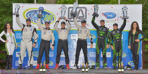 9-11 August, 2013, Elkhart Lake, Wisconsin USA #551 Level 5 Motorsports HPD on top spot on podium with #552 drivers, third place and #01 drivers, second place. ©Dan R. Boyd LAT Photo USA