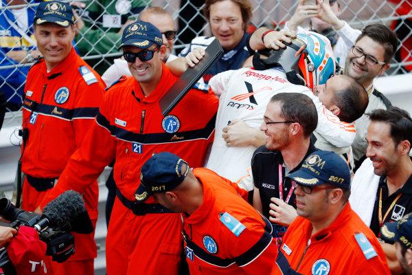 2017 FIA Formula 2 Round 3. Monte Carlo, Monaco. Saturday 27 May 2017. Nyck De Vries (NED, Rapax) celebrates with his team after winning the race. World Copyright: Glenn Dunbar/FIA Formula 2 ref: Digital Image _X4I9699