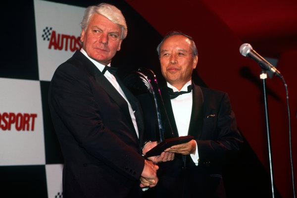 Grosvenor House Hotel, Park Lane, London, Great Britain. 4 December 1994.Roger Clark presents Riyuchiro Kuze (Subaru) with the Rally Car of the Year award, portrait.World Copyright: Jeff Bloxham/LAT PhotographicRef: 35mm transparency
