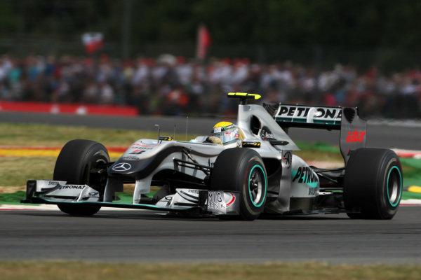 Nico Rosberg (GER) Mercedes GP MGP W01. Formula One World Championship, Rd 10, British Grand Prix, Qualifying Day, Silverstone, England, Saturday 10 July 2010.