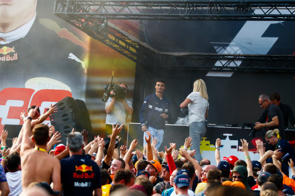 Spa Francorchamps, Belgium.  Saturday 26 August 2017. Pascal Wehrlein, Sauber, on stage in the F1 Fanzone. World Copyright: Sam Bloxham/LAT Images  ref: Digital Image _J6I9154