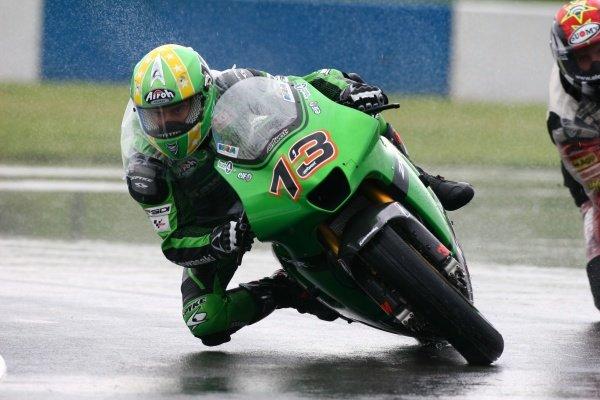 2007 Moto GP British Grand Prix.Donington Park, England.22nd-24th June 2007.Anthony West (Kawasaki Racing Team, Kawasaki ZX-RR) and Alex Hofmann (Pramac dÕAntin, Ducati Desmosedici GP7) action.World Copyright: Kevin Wood/LAT Photographicref: Digital Image IMG_4521