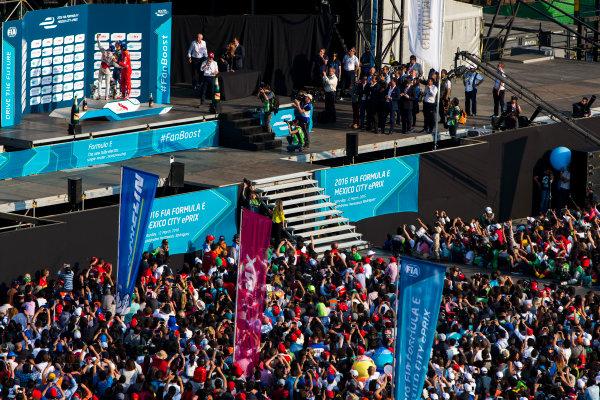 2015/2016 FIA Formula E Championship. Mexico City ePrix, Autodromo Hermanos Rodriguez, Mexico City, Mexico. Saturday 12 March 2016. Lucas Di Grassi (BRA), ABT Audi Sport FE01, Jerome D'Ambrosio (FRA) Dragon Racing - Venturi VM200-FE-01 and Sebastien Buemi (SUI), Renault e.Dams Z.E.15. Photo: Zak Mauger/LAT/Formula E ref: Digital Image _79P4122