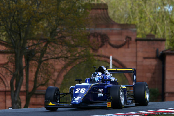 2017 BRDC British F3 Championship, Oulton Park, Cheshire. 15th - 187th April 2017. Cameron Das (USA) Carlin BRDC F3. World Copyright: JEP/LAT Images.