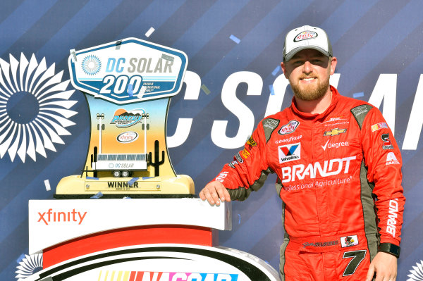 2017 NASCAR Xfinity Series DC Solar 200 Phoenix International Raceway, Avondale, AZ USA Saturday 18 March 2017 Justin Allgaier celebrates his win in Victory Lane World Copyright: Nigel Kinrade/LAT Images ref: Digital Image 17PHX1nk06494