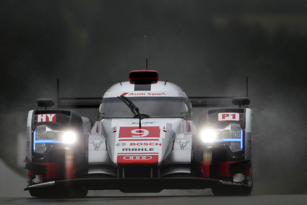 2015 FIA World Endurance Championship, Spa-Francorchamps, Belgium. 30th April - 2nd May 2015. Filipe Albuquerque / Marco Bonanomi / Rene Rast Audi Sport Team Joest Audi R18 e-tron quattro. World Copyright: Ebrey / LAT Photographic.