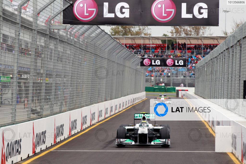 Albert Park, Melbourne, Australia25th March 2011.Nico Rosberg, Mercedes GP W02, enters the pit lane. Action. World Copyright: Charles Coates/LAT Photographicref: Digital Image _X5J8849