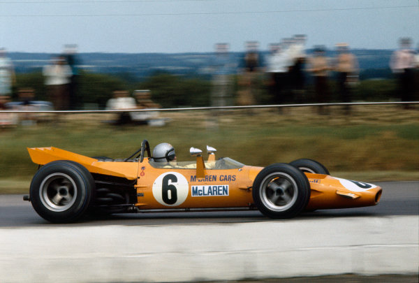Silverstone, Great Britain. 19th July 1969.Bruce McLaren (McLaren M7A-Ford), 3rd position, action. World Copyright: LAT Photographic.Ref: 69 GB 50.