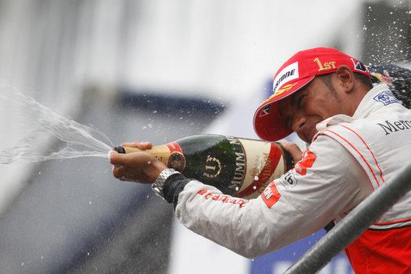 Spa-Francorchamps, Spa, Belgium29th August 2010Lewis Hamilton, McLaren MP4-25 Mercedes, 1st position, sprays the Champage. Portrait. Podium. World Copyright: Steven Tee/LAT Photographicref: Digital Image _A8C9698