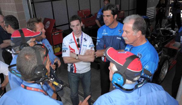 John Anderson, team manger for de Ferran Motorsports with ALMS officials.©2009 Dan R. Boyd USA LAT Photographty.