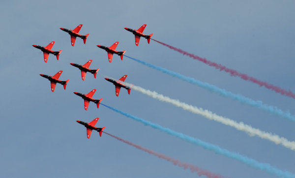 Goodwood Estate, Chichester England 11th - 14th July 2013. The Red Arrows. World Copyright: Jeff Bloxham/LAT Photographic ref: Digital Image DSC_7500