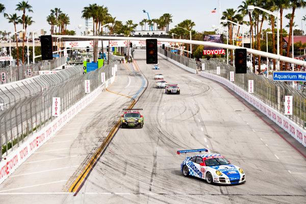 Long Beach. California, USA. 16th - 18th April 2010. Juan Gonzalez / Butch Leitzinger  (Alex Job Racing, Porsche 911 GT3 Cup). Action. World Copyright: Drew Gibson/LAT Photographic. Digital Image _Y8P0468