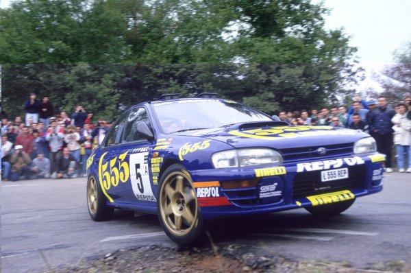 1995 World Rally Championship.Catalunya Rally, Spain. 23-25 October 1995.Carlos Sainz/Luis Moya (Subaru Impreza 555), 1st position.World Copyright: LAT PhotographicRef: 35mm transparency 95RALLY26