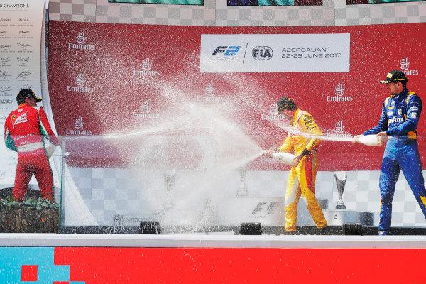 Baku City Circuit, Baku, Azerbaijan. Sunday 25 June 2017 Charles Leclerc (MCO, PREMA Racing) Norman Nato (FRA, Pertamina Arden) and Nicholas Latifi (CAN, DAMS)  Photo: Mauger/FIA Formula 2 ref: Digital Image _56I8664