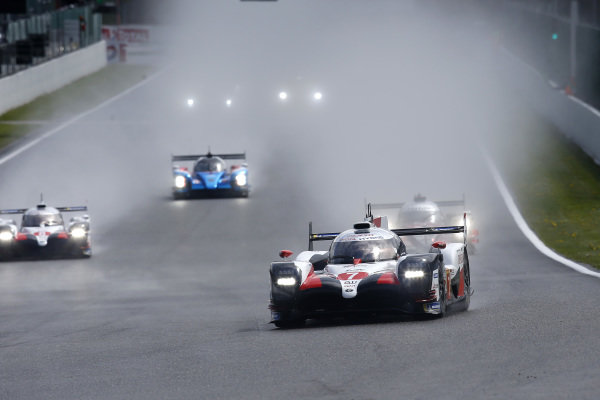 #7 Toyota Gazoo Racing Toyota TS050: Mike Conway, Kamui Kobayashi, Jose Maria Lopez leads.