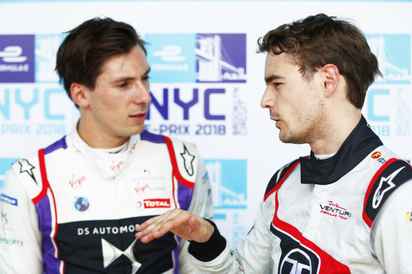 Tom Dillmann (GER) Venturi Formula E, Venturi VM200-FE-03, talks with Alex Lynn (GBR), DS Virgin Racing, DS Virgin DSV-03.